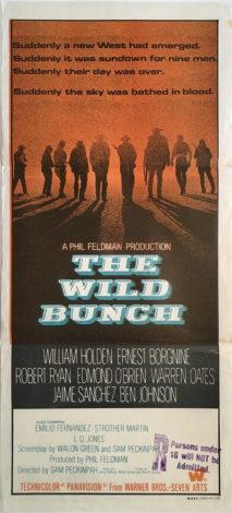 the wild bunch australian daybill western movie poster william holden, erest borgnine robert ryan