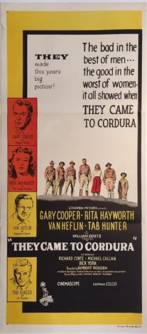 they came to cordura australian daybill poster gary cooper rita hayworth