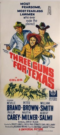 three guns for texas australian daybill poster western neville brand