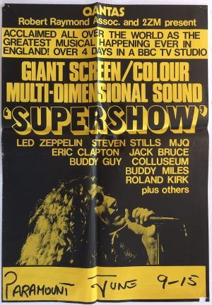 Supershow Australian & New Zealand poster LED Zepplin, Eric Clapton