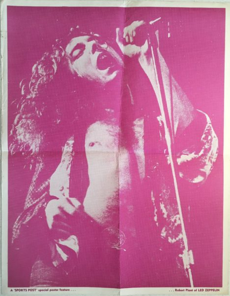 Robert Plant LED Zeppelin New Zealand 1970's Poster