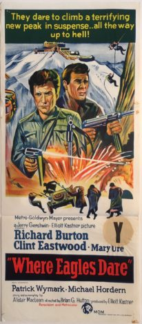 where eagles dare australian daybill poster with new zealand snipe, clint eastwood and richard burton