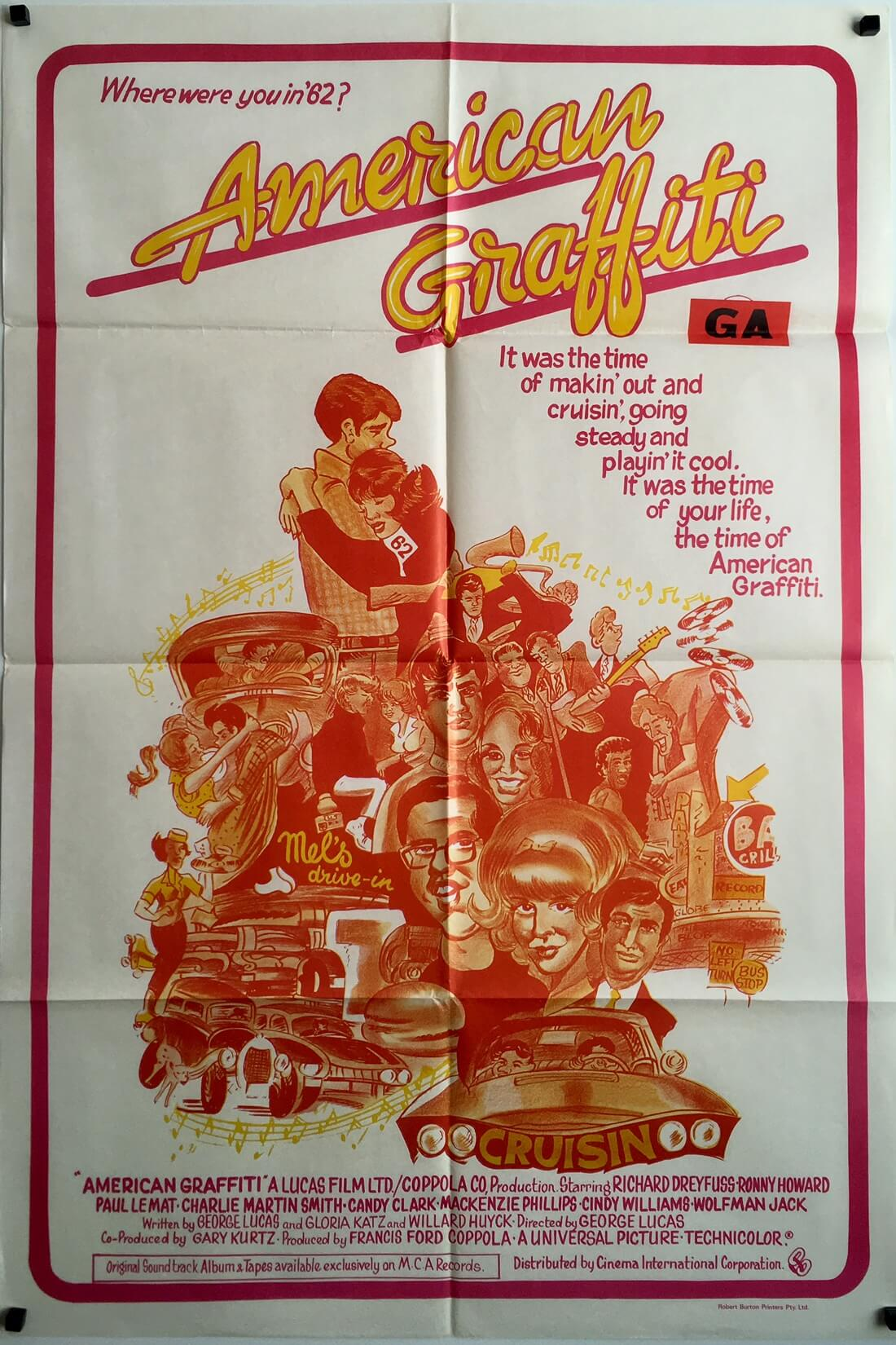 American Graffiti 1970's Australian One Sheet Movie Poster