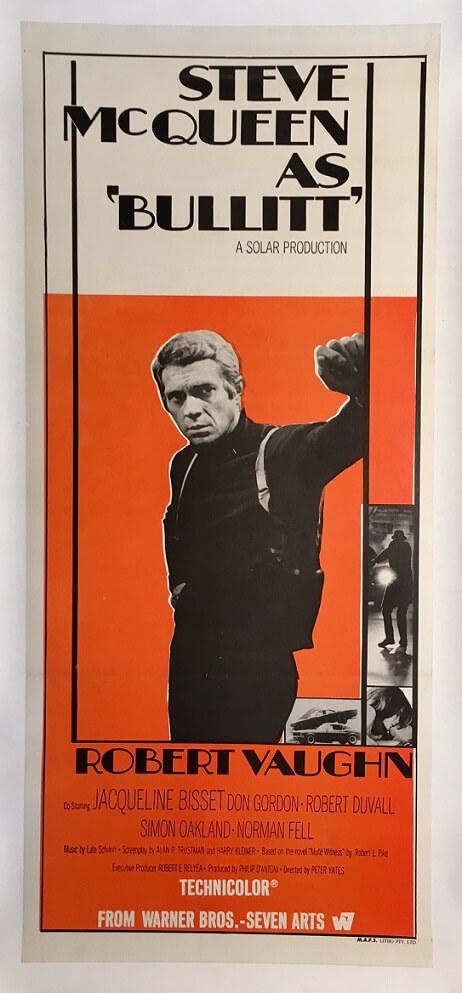 bullitt australian daybill poster original release 1968 steve mcqueen & robert vaughn
