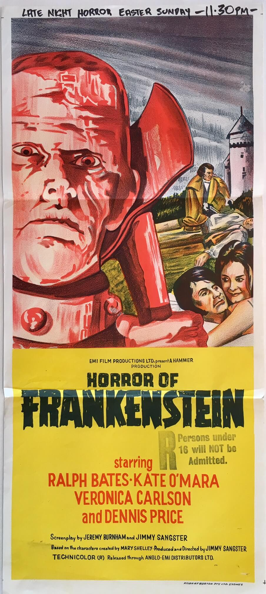 horror of frankenstein daybill poster hammer horror