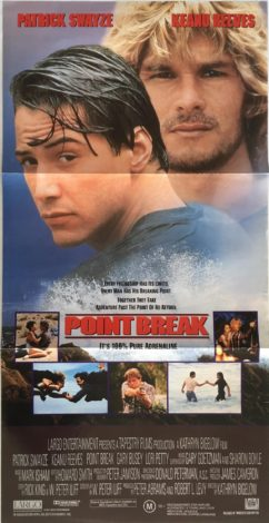 point break daybill poster - surfing, crime