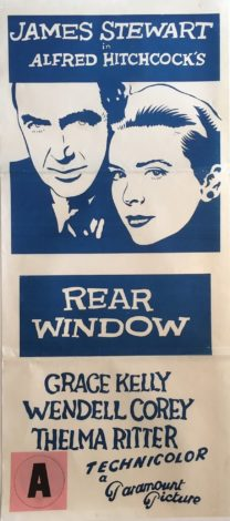 rear window alfred hitchcock 1960's re-release australian daybill movie poster james stewart, grace kelly australian daybill