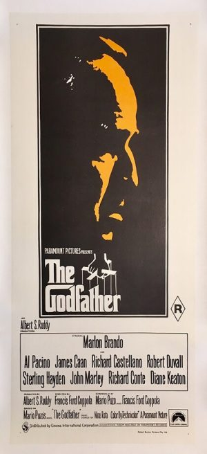 the godfather 1972 australian daybill poster rare yellow / orange second print