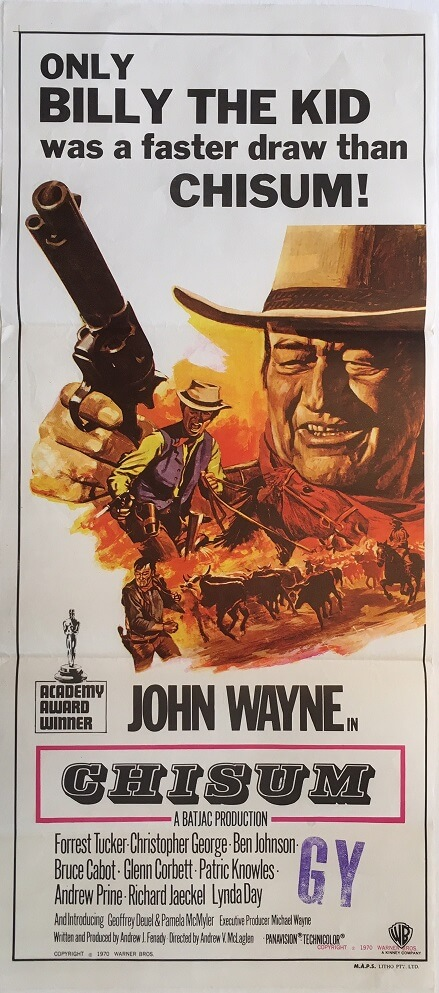 chisum australian daybill movie poster john wayne tom chantrell art