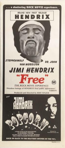 popcorn free jimi hendrix 1970s australian daybill movie poster