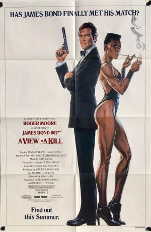 A View to a Kill 1984 US Advance One Sheet Poster Roger Moore Christopher Walken Grace Jones