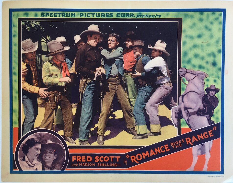 Romance rides the range western lobby card fred scott and marion shilling