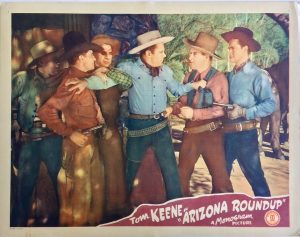 arizona roundup western lobby card starring tom keene