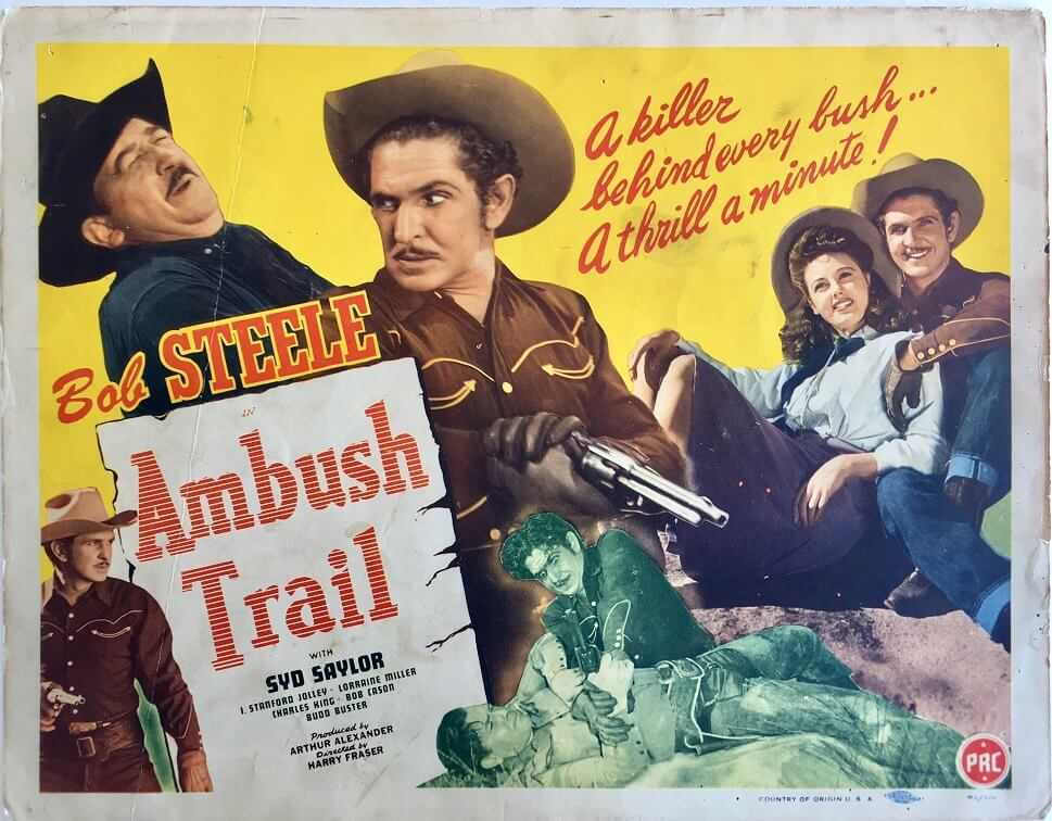 ambush trail western lobby card starring bob steele