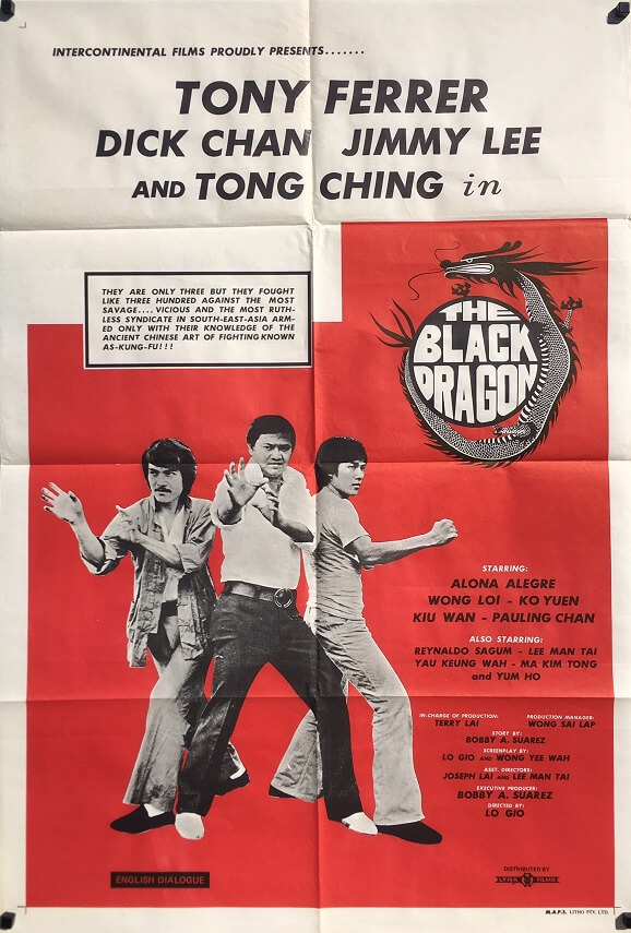 The Black Dragon 1973 Australian One Sheet Movie Poster Tony Ferrer Dick Chan Jimmy Lee martial arts classic