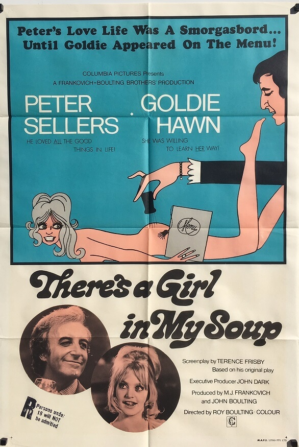 There's a Girl in My Soup 1970 Australian One Sheet Poster Peter Sellers Goldie Hawn
