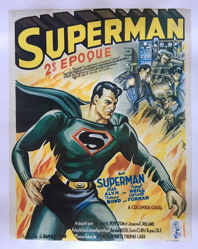 superman belgium 1948 serial poster linen backed