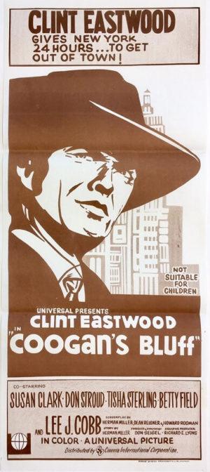 coogans bluff australian daybill poster 1970s rerelease staring clint eastwood