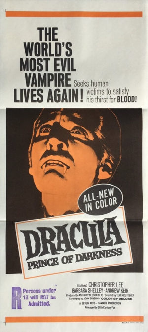 dracula prince of darkness daybill poster christopher lee hammer horror production