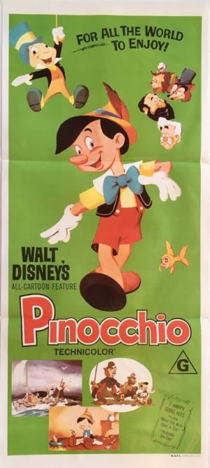 pinocchio australian daybill poster 1970s rerelease walt disney poster