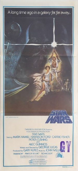 star wars australian daybill poster 1977 1st printing very rare with NZ stamp 1