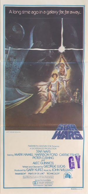 star wars australian daybill poster 1977 1st printing very rare with NZ stamp