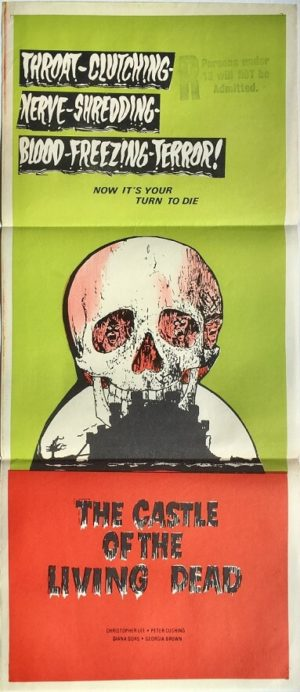 the castle of the living dead australian daybill poster christopher lee horror movie