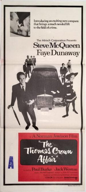 the thomas crown affair australian daybill poster steve mcqueen 1968