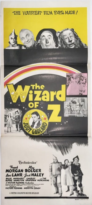 the wizard of oz australian daybill poster re-release 1970's yellow
