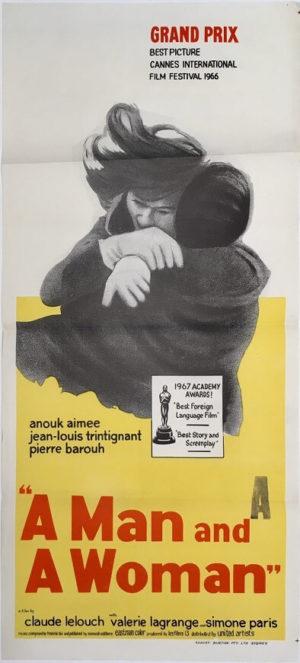 Un homme et une femme a man and a woman daybill movie poster Un homme et une femme 1966