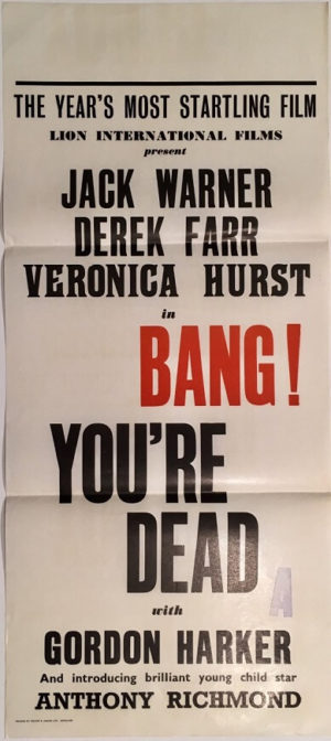 bang you're dead New Zealand daybill poster also known as Game of Danger 1954