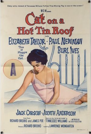 cat on a hot tin roof australian one sheet rerelease poster from, featuring elizabeth taylor and paul newman
