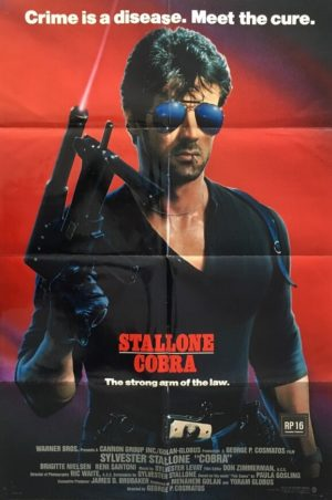 cobra one sheet movie poster featuring sylvester stallone from 1986