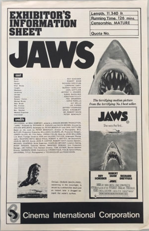 jaws australian exhibitors information/press sheet 1975
