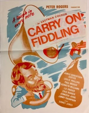 raising the wind new zealand daybill poster renamed carry on fiddling 1961 with james robertson justice, kenneth williams, sidney james and leslie phillips
