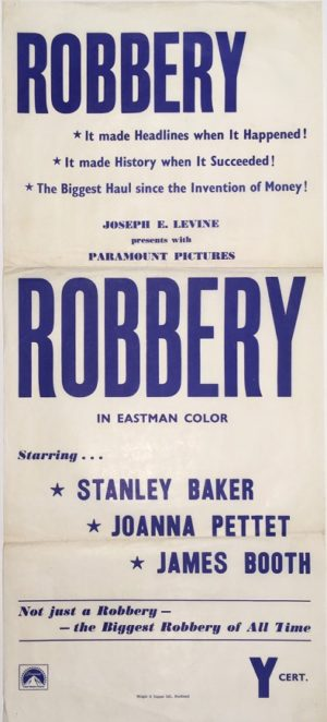 robbery 1967 new zealand daybill poster staring stanley baker