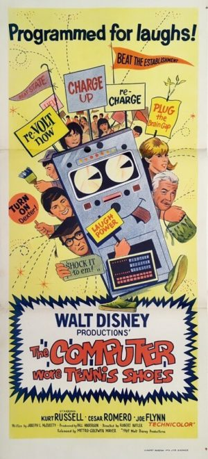 the computer wore tennis shoes daybill movie poster 1969 walt disney movie staring kurt russell