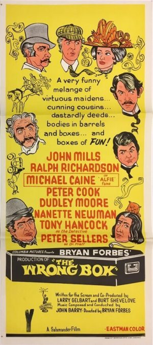the wrong box daybill poster staring john mills michael caine and peter sellers