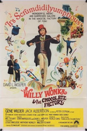 willy wonka and the chocolate factory 1971 australian one sheet poster from