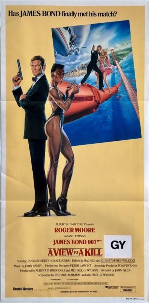 a view to a kill australian daybill movie poster featuring roger moore and grace jones 1