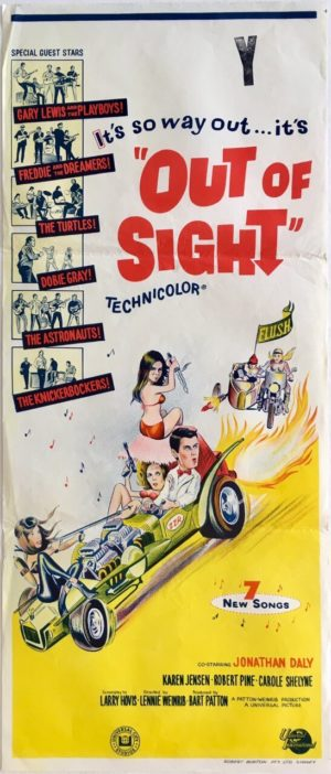 out of sight australian daybill movie poster featuring gary lewis and the playboys and freddie and the dreamers