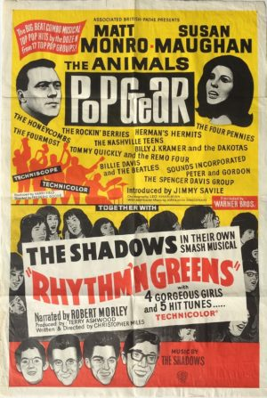 pop gear and rhythm n greens australian one sheet movie poster featuring the beatles and the shadows