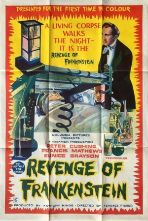 revenge of frankenstein 1958 australian one sheet movie poster featuring peter cushing