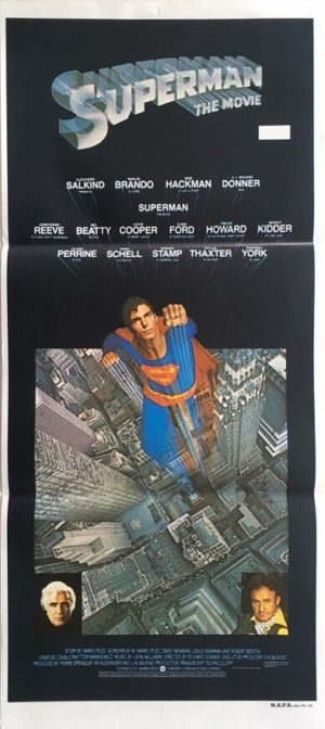 superman the movie australian daybill poster featuring christopher reeve