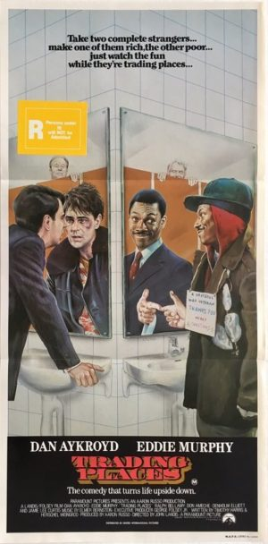 trading places australian daybill movie poster featuring dan aykroyd and eddie murphy