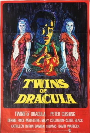 twins of dracula also known as twins of evil uk one sheet movie poster featuring peter cushing