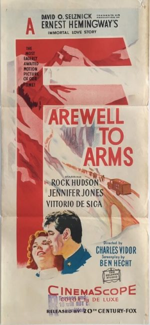 farewell to arms australian daybill poster with rock hudson by ernest hemingway