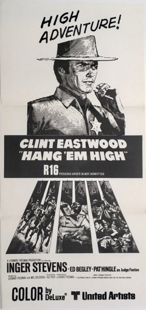 hang em high new zealand daybill poster with clint eastwood