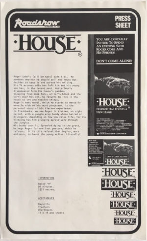 house horror movie press sheet