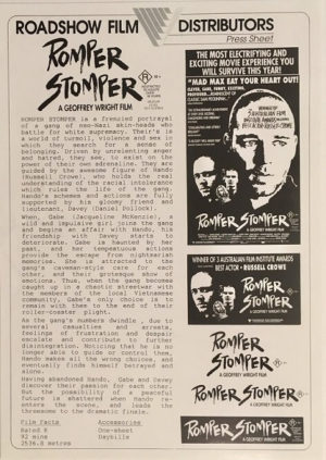 romper stomper australian press sheet